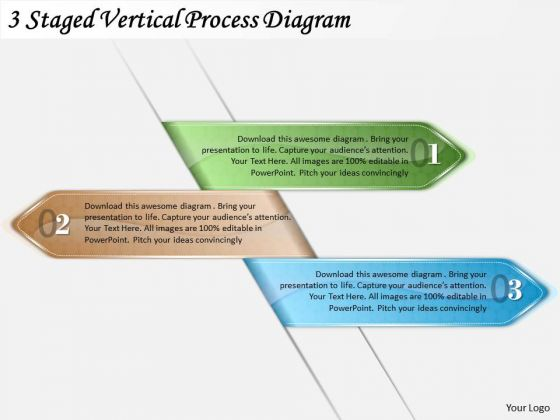 Timeline Ppt Template 3 Staged Vertical Process Diagram