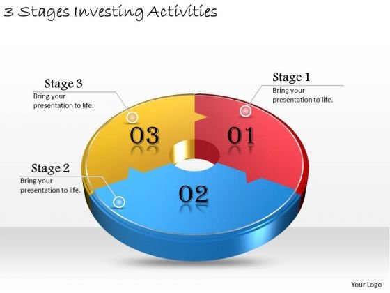 Timeline Ppt Template 3 Stages Investing Activities