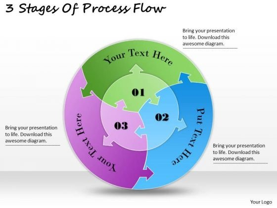 Timeline Ppt Template 3 Stages Of Process Flow