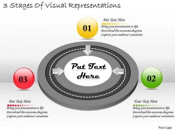 Timeline Ppt Template 3 Stages Of Visual Representations