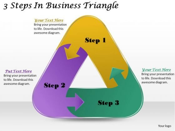 Timeline Ppt Template 3 Steps In Business Triangle