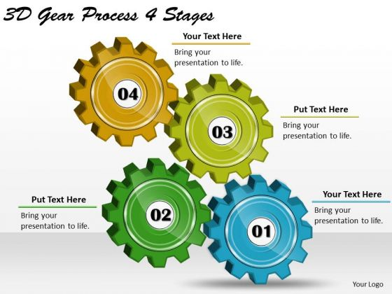 Timeline Ppt Template 3d Gear Process 4 Stages
