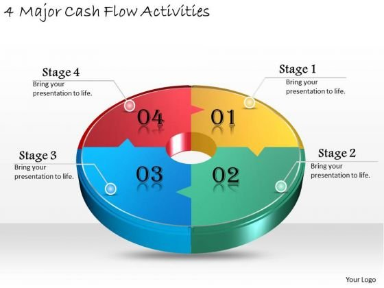 Timeline Ppt Template 4 Major Cash Flow Activities