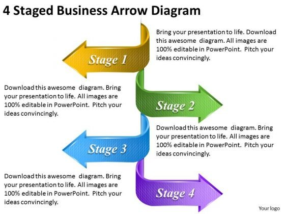 Timeline Ppt Template 4 Staged Business Arrow Diagram