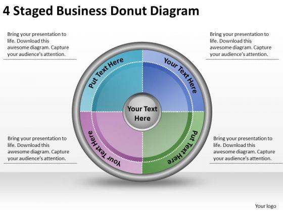 Timeline Ppt Template 4 Staged Business Donut Diagram