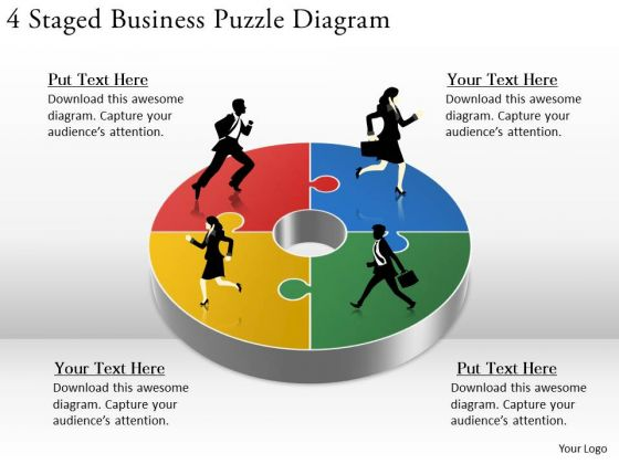Timeline Ppt Template 4 Staged Business Puzzle Diagram