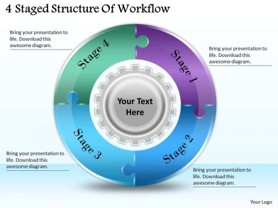 Timeline Ppt Template 4 Staged Structure Of Workflow