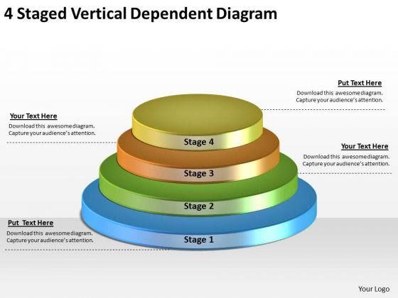 Timeline Ppt Template 4 Staged Vertical Dependent Diagram