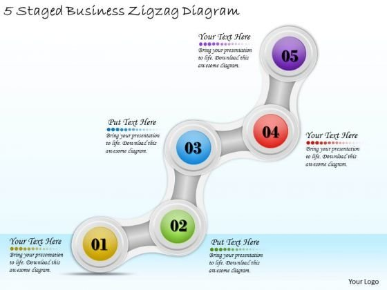 Timeline Ppt Template 5 Staged Business Zigzag Diagram