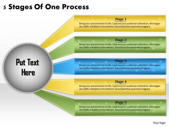 Timeline Ppt Template 5 Stages Of One Process