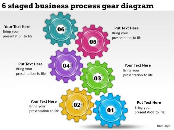 Timeline Ppt Template 6 Staged Business Process Gear Diagram