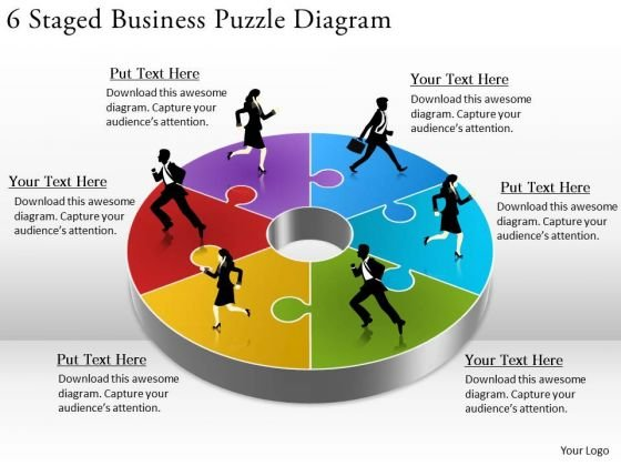 Timeline Ppt Template 6 Staged Business Puzzle Diagram