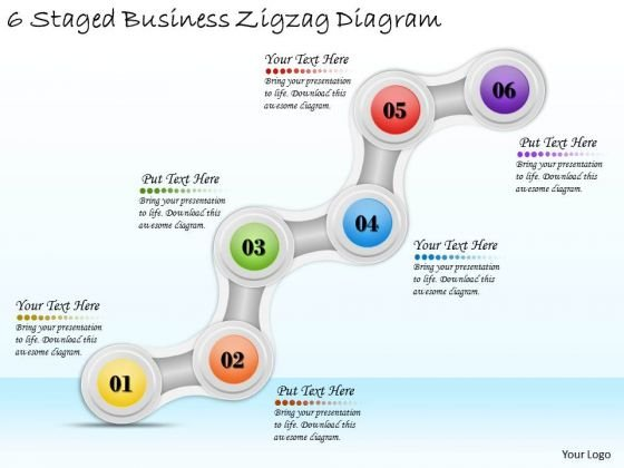 Timeline Ppt Template 6 Staged Business Zigzag Diagram