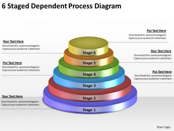 Timeline Ppt Template 6 Staged Dependent Process Diagram