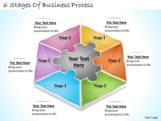 Timeline Ppt Template 6 Stages Of Business Process