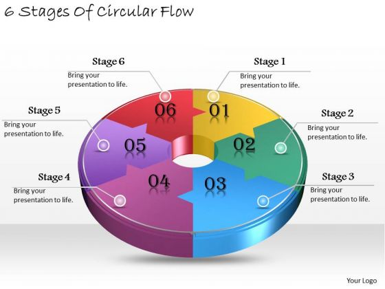 Timeline Ppt Template 6 Stages Of Circular Flow