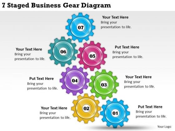 Timeline Ppt Template 7 Staged Business Gear Diagram