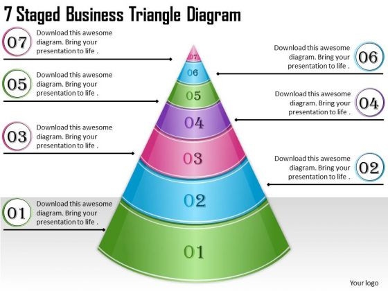Timeline Ppt Template 7 Staged Business Triangle Diagram