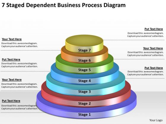 Timeline Ppt Template 7 Staged Dependent Business Process Diagram