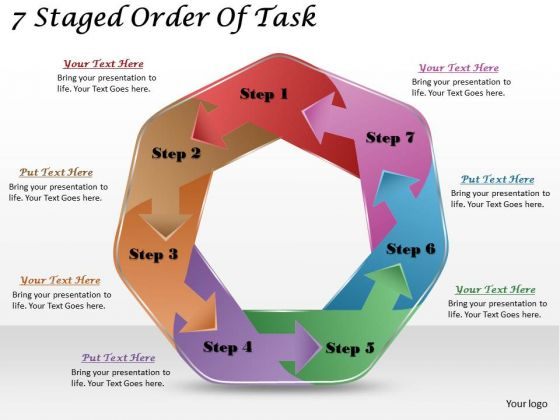 Timeline Ppt Template 7 Staged Order Of Task
