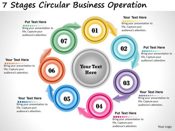 Timeline Ppt Template 7 Stages Circular Business Operation