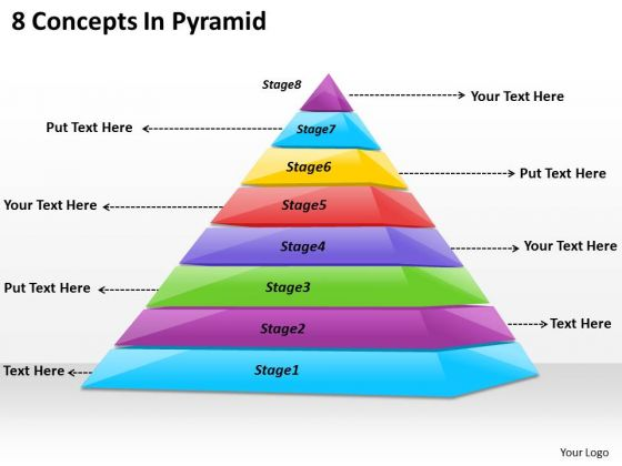 Timeline Ppt Template 8 Concepts In Pyramid