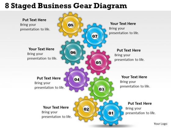 Timeline Ppt Template 8 Staged Business Gear Diagram