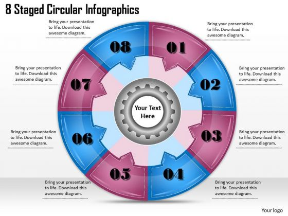 Timeline Ppt Template 8 Staged Circular Infographics