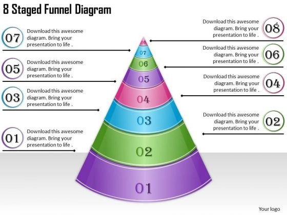 Timeline Ppt Template 8 Staged Funnel Diagram