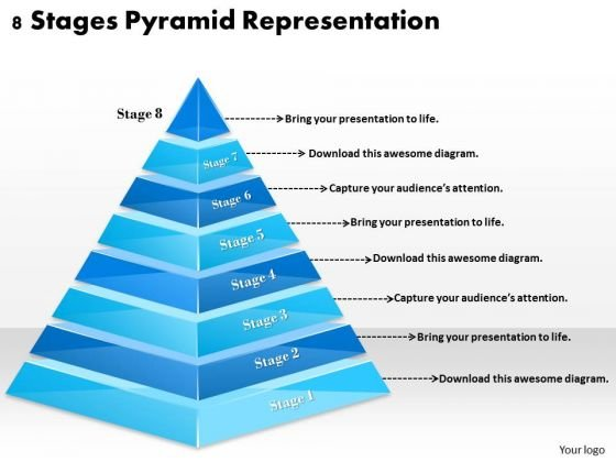 Timeline Ppt Template 8 Stages Pyramid Representation