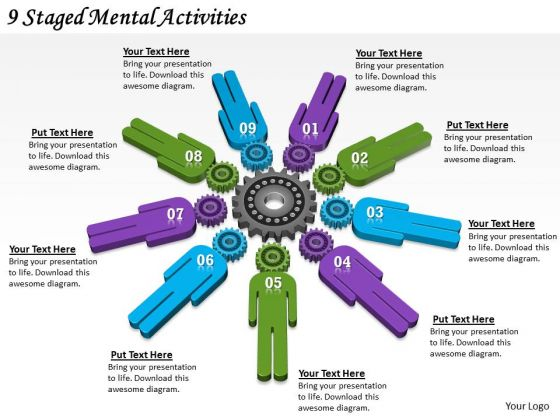 Timeline Ppt Template 9 Staged Mental Activities