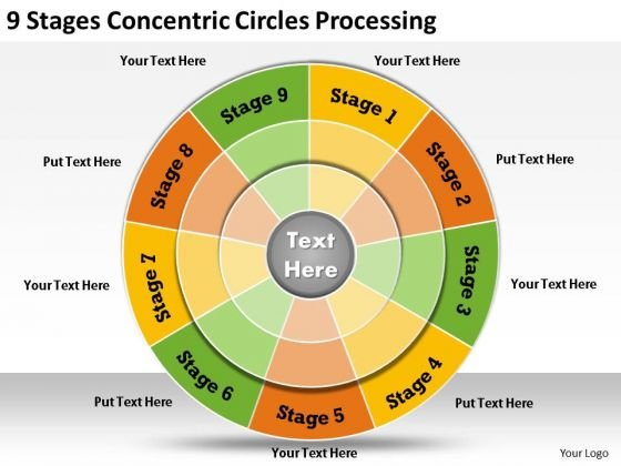 Timeline Ppt Template 9 Stages Concentric Circles Processing