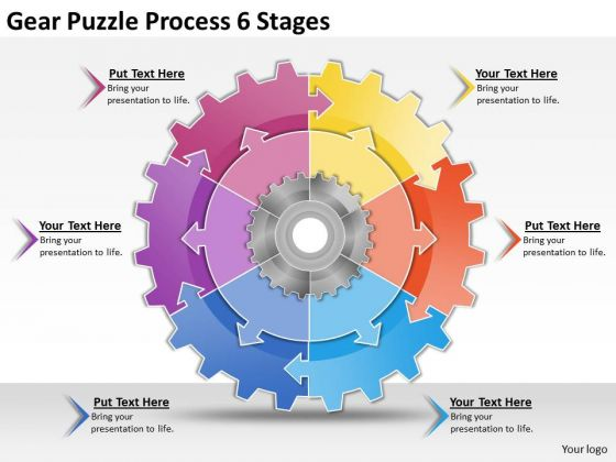 Timeline Ppt Template Gear Puzzle Process 6 Stages