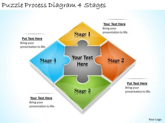 Timeline Ppt Template Puzzle Process Diagram 4 Stages
