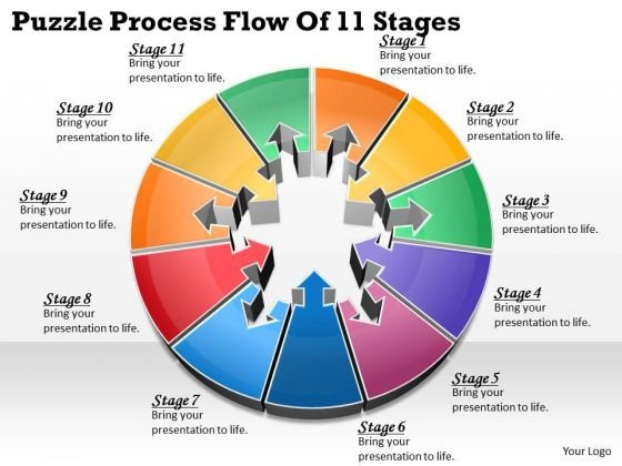 Timeline Ppt Template Puzzle Process Flow Of 11 Stages