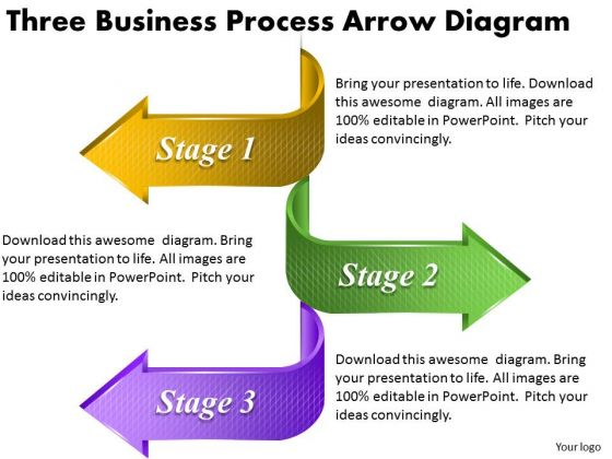 Timeline Ppt Template Three Business Process Arrow Diagram