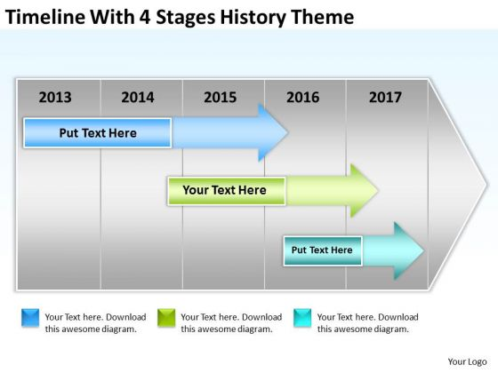 Timeline With 4 Stages History Theme Ppt Strategic Business Plan Template PowerPoint Templates