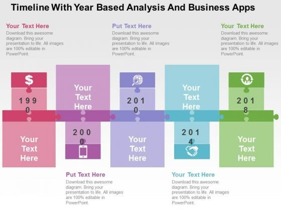 Timeline With Year Based Analysis And Business Apps PowerPoint Template