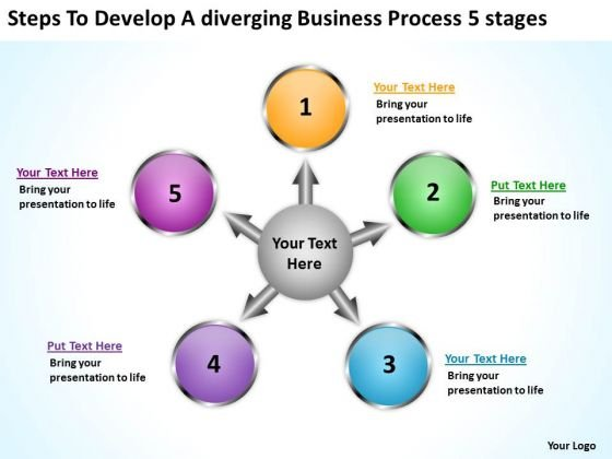 To Develop A Diverging Business Process 5 Stages Circular Spoke Diagram PowerPoint Templates