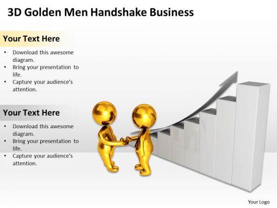 Top Business People 3d Golden Men Handshake New PowerPoint Presentation Slides