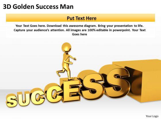 Top Business People 3d Golden Success Man PowerPoint Slides