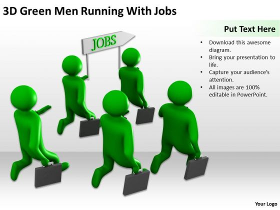 Top Business People 3d Green Men Running With Jobs PowerPoint Slides