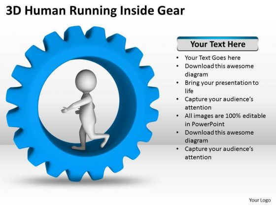 Top Business People 3d Human Running Inside Gear PowerPoint Slides