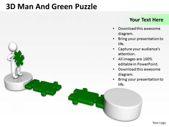 Top Business People 3d Man And Green Puzzle PowerPoint Slides