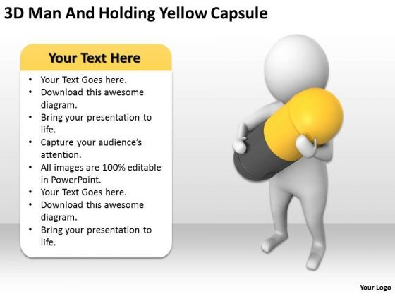 Top Business People 3d Man And Holding Yellow Capsule PowerPoint Templates