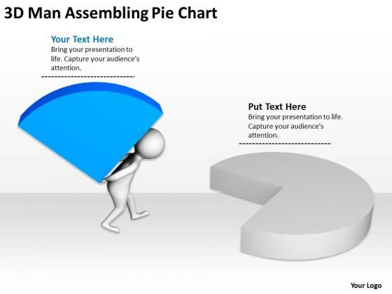 Top Business People 3d Man Assembling Pie Chart PowerPoint Slides