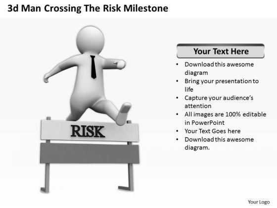 Top Business People 3d Man Crossing The Risk Milestone PowerPoint Templates