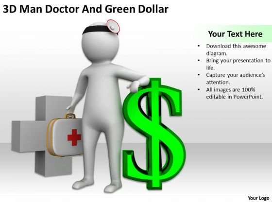 Top Business People 3d Man Doctor And Green Dollar PowerPoint Templates Ppt Backgrounds For Slides