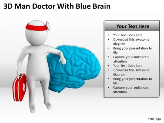 Top Business People 3d Man Doctor With Blue Brain PowerPoint Templates