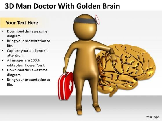 Top Business People 3d Man Doctor With Golden Brain PowerPoint Templates